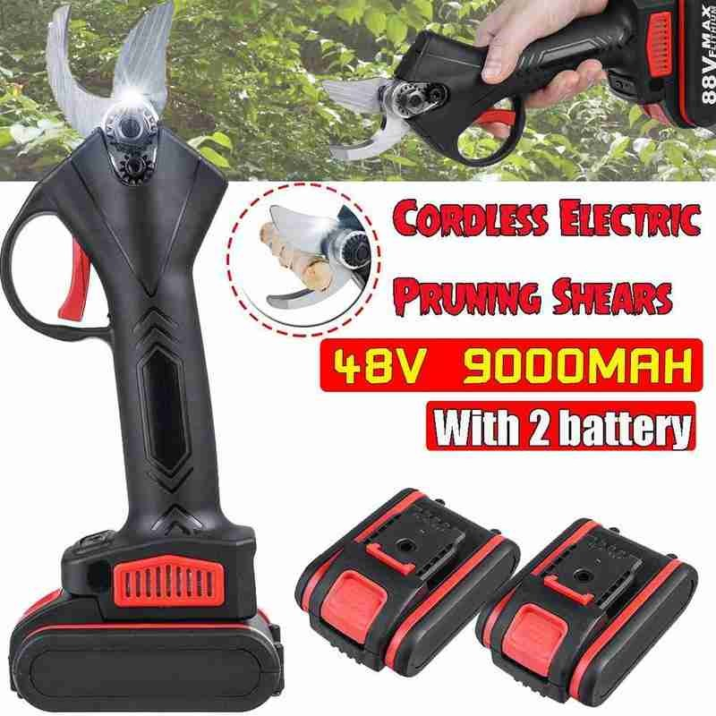 48V Cordless Electric Pruning Shears Secateur Branch Cutter 2 Lithium-ion 9000mAh Battery Garden Landscaping Pruning Shears
