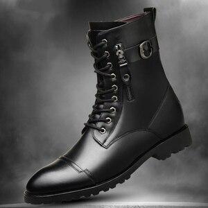 Image 4 - Thương hiệu Ý thiết kế nhà cao cấp thời trang Giày cổ cao da thật chính hãng Da Giày buộc dây thu đông dài Boot zapatos de hombre bota masculina
