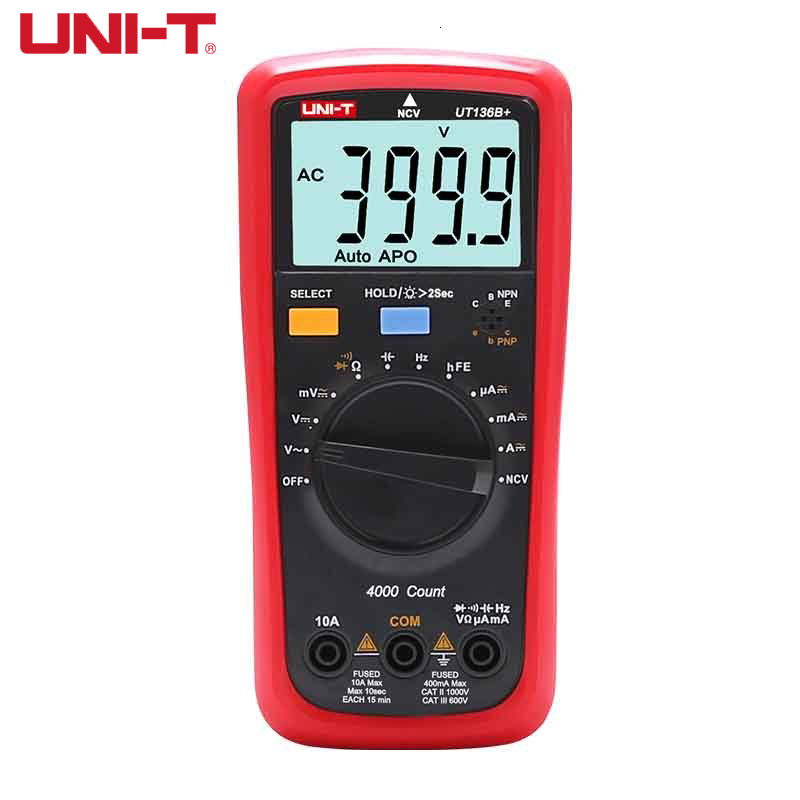 UNI-T UT136B +/UT136C + мультиметр цифровые Тесты er AC DC Вольтметр Амперметр Ом постоянной ёмкости, универсальный конденсатор HFE диод/транзистор Тесты