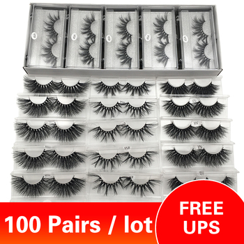 Free UPS 100 Pairs / Lot 25mm Lashes Wholesale 3d Mink Lashes Dramatic Long False Eyelashes Make Up Eyelashes Wholesale Bulk