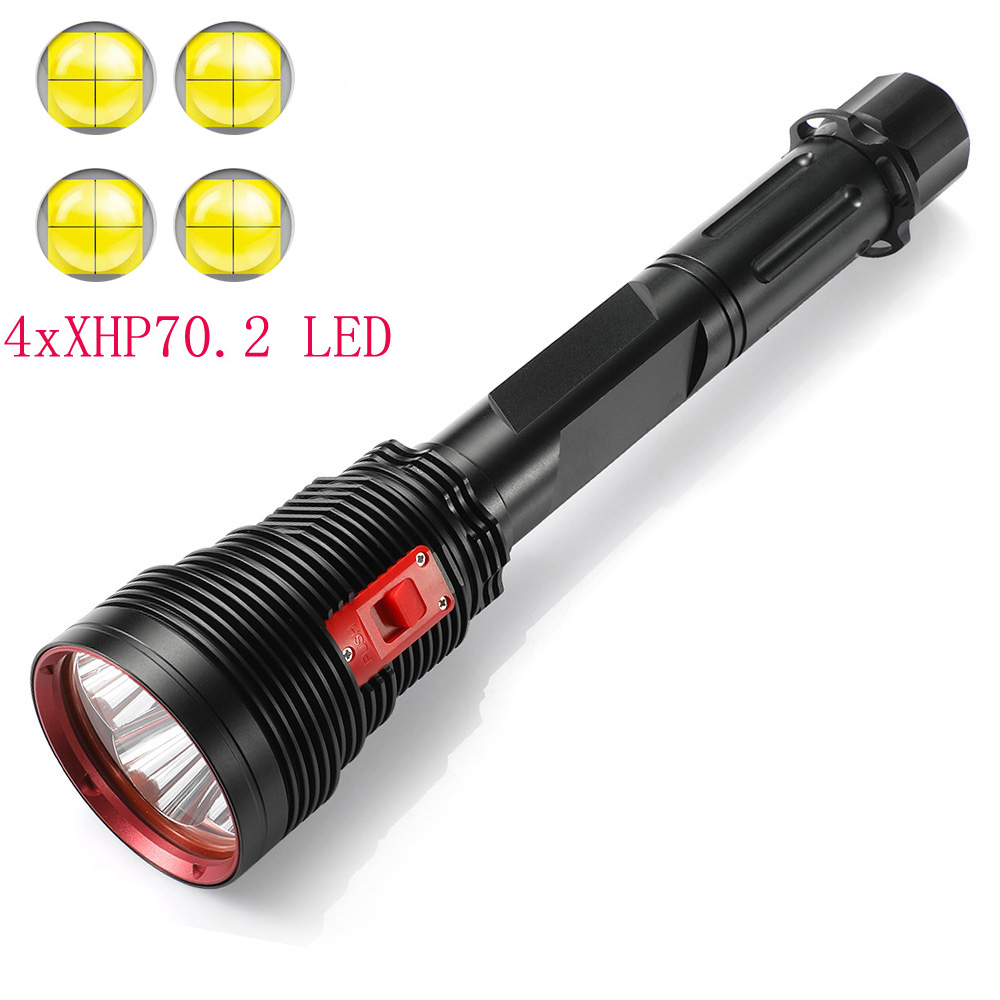 New Powerful 4 X XHP70.2 High Lumen LED Diving Flashlight Underwater Dive Torch 200M Waterproof Tactical Submersible Lights