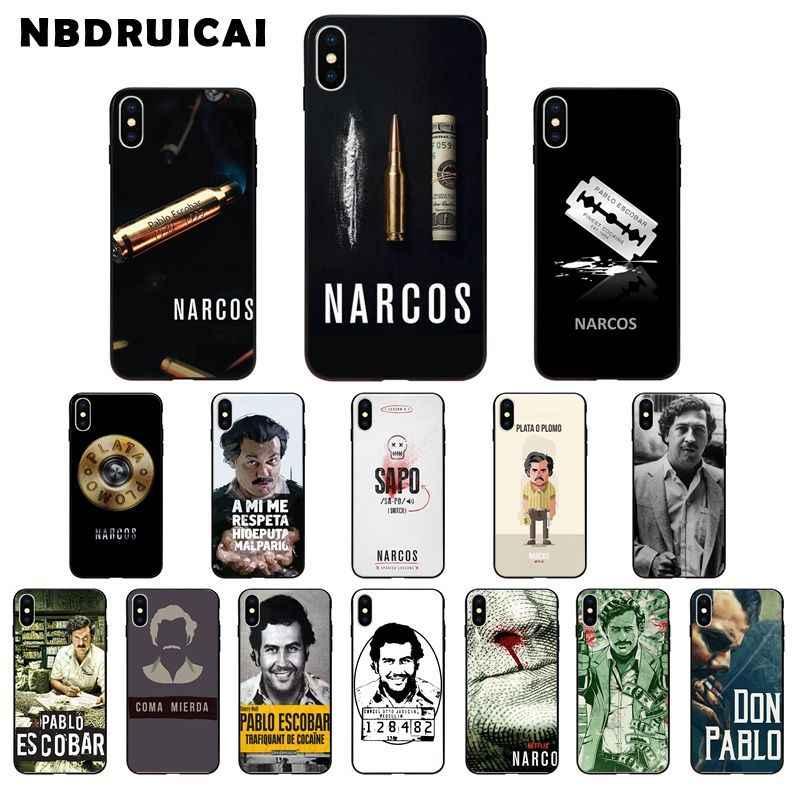 Nbdruicai narcos série tv pablo escobar impressão silicone caso de telefone para iphone 11 pro xs max 8 7 6 s plus x 5 5S se xr