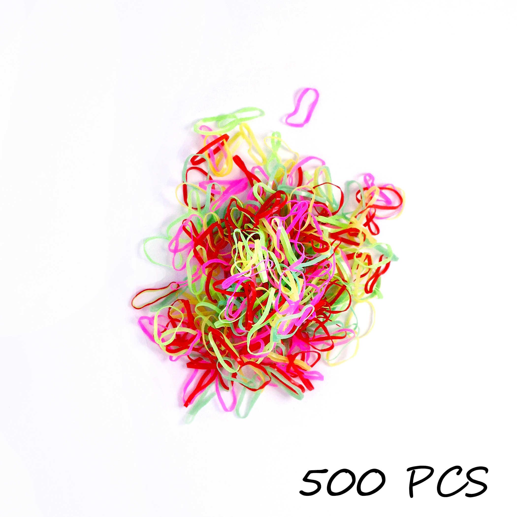 500 قطعة/الحقيبة الفتيات الملونة الأربطة المطاطية الأطفال مرونة الشعر العصابات ذيل حصان حامل المرأة لطيف الشعر الدائري الحلو