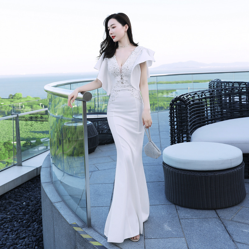 YULUOSHA Long Party Dress Sexy Mermaid Crystal Satin V-neck Gold Dress Long Wedding Guest Dress Vestidos De Fiesta De Noche