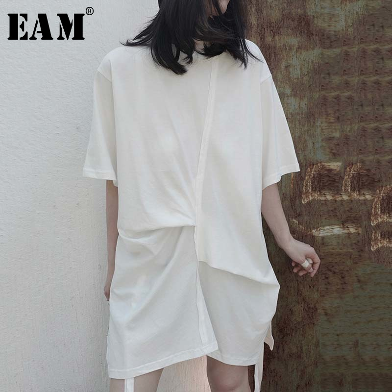 [EAM] Women White Pleated Split Big Size Long T-shirt New Round Neck Half Sleeve  Fashion Tide  Spring Summer 2020 1W296 1