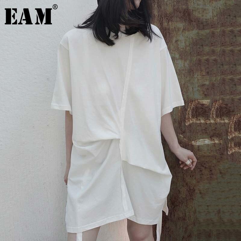 [EAM] Women White Pleated Split Big Size Long T-shirt New Round Neck Half Sleeve  Fashion Tide  Spring Summer 2020 1W296 1