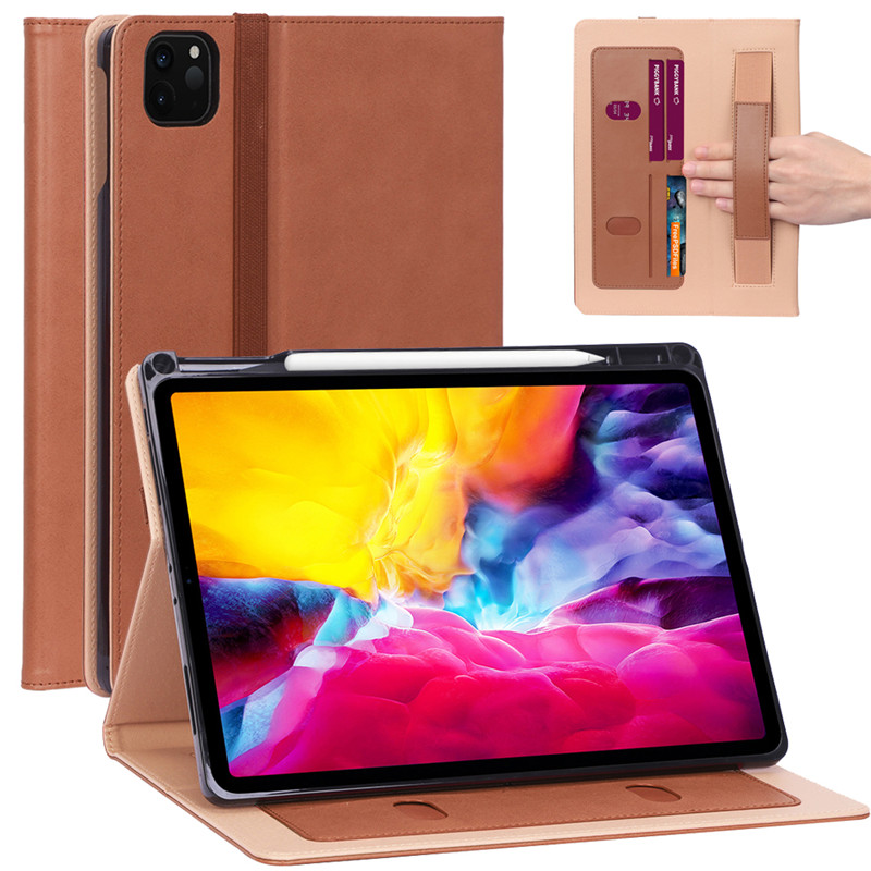 Brown White Case For 2020 11 iPad Pro 11 Case Luxury PU Leather Flip Cover with Pencil Holder