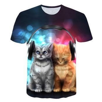 3D cat print T-shirt men/women summer funny short-sleeved style casual O-neck animal street shirt