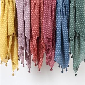 Image 1 - Hiyab de lunares plano liso para mujer, bufanda de gran tamaño, chal islámico, para la cabeza, suave, larga, mezcla de algodón, hijabs lisos