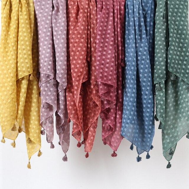 Hiyab de lunares plano liso para mujer, bufanda de gran tamaño, chal islámico, para la cabeza, suave, larga, mezcla de algodón, hijabs lisos