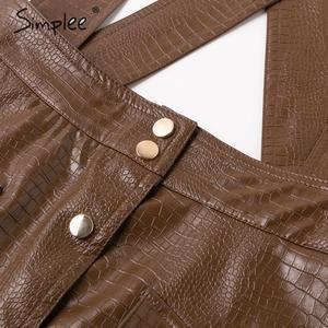Image 5 - Simplee Women faux leather dress Streetwear PU soft animal print overalls autumn dress Overalls high waist lady strap mini dress