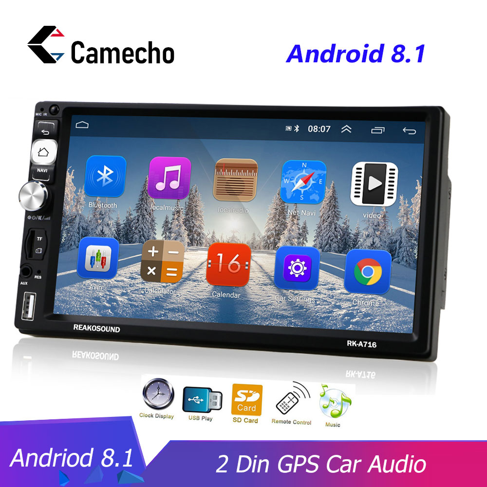 Camecho <font><b>2Din</b></font> <font><b>Android</b></font> <font><b>8.1</b></font> Auto Multimedia-Player GPS Navigation Bluetooth Auto Audio Wifi USB FM Spiegel Link 7''HD Auto Audio Stereo image