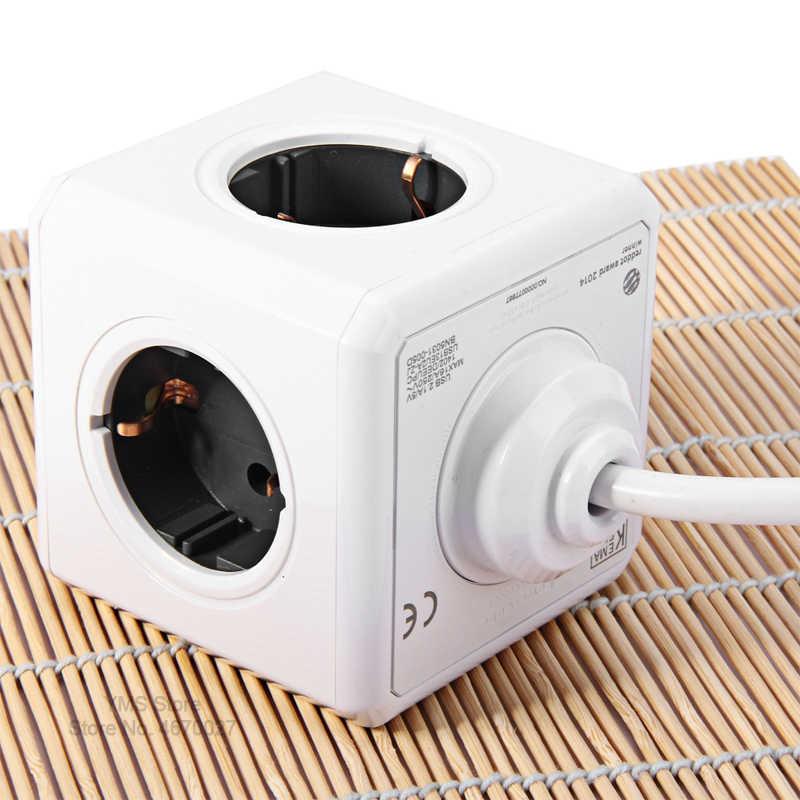Allocacoc Powercube przedłużacz elektryczny przewód 1.5M 3M 3600W 2 porty USB 5V 4 gniazdo wyjściowe ue listwa zasilająca inteligentny wielu przejściówka adapter