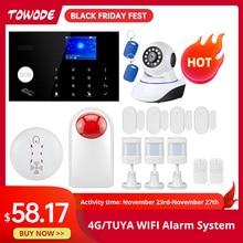 Towode 경보 시스템 키트 G34 GSM WIFI 4G Tuya 무선 보안 홈 카메라 모션 탐지기 원격 제어 사이렌 433mhz