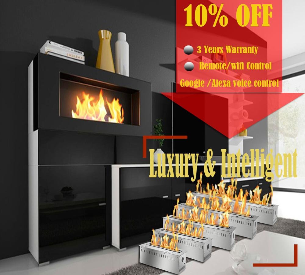 Inno Living Fire 48 Inch Eco Fireplace Insert Smart Indoor Biofuel Wifi Burner