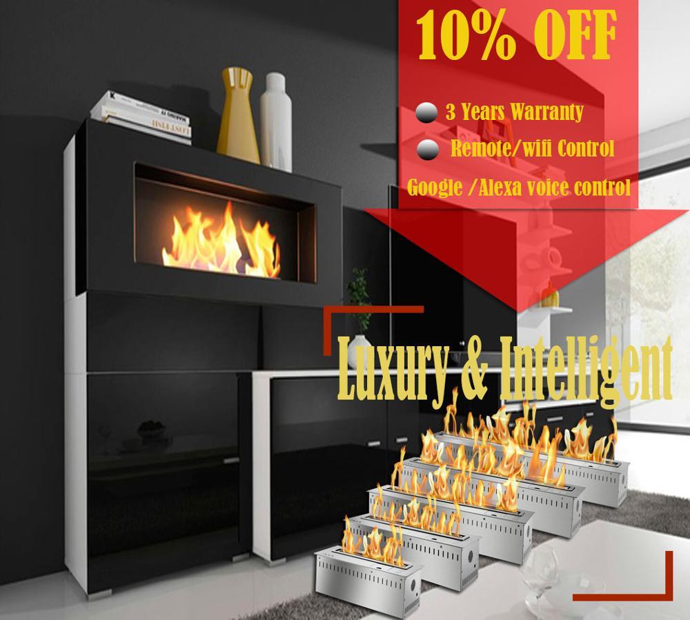 Inno Living Fire 48 Inch Eco Fireplace Insert Smart Indoor Biofuel Wifi Burner