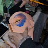 Новый манекен с плоской головкой силиконовые практики Накладные ресницы макияж модель массаж обучение высокое качество CLA88