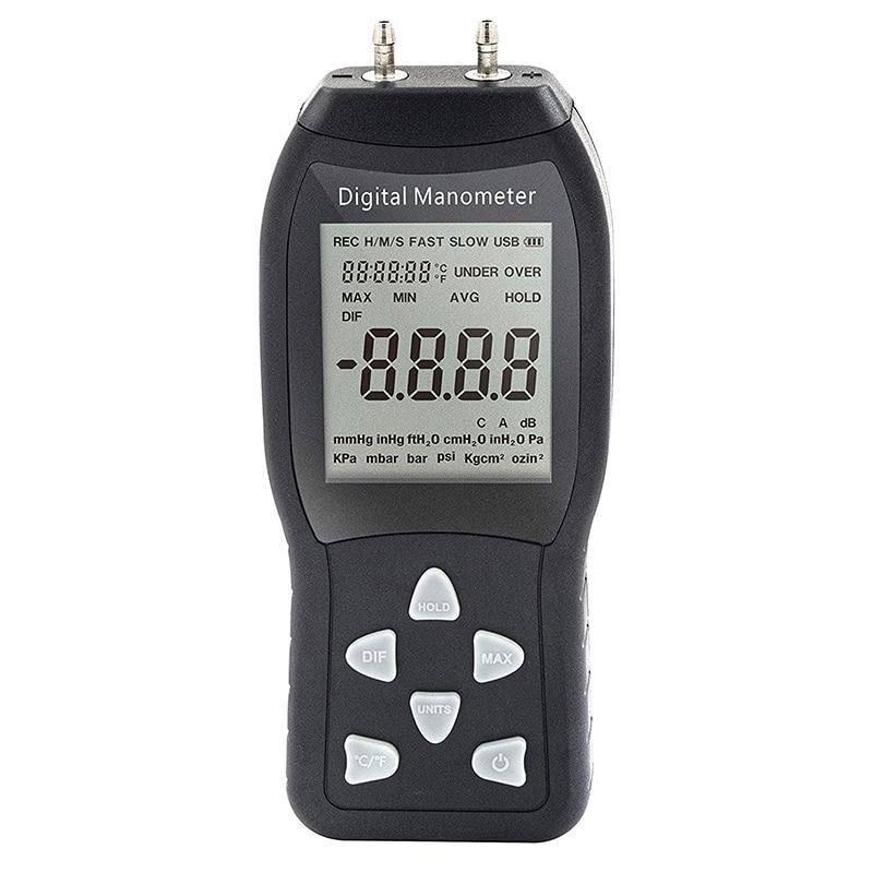 Digital Air Pressure Meter & Manometer to Measure Gauge and Differential Pressure +/-13.79KPa / +/-2 Psi / +/-55.4 H2O