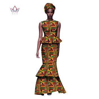 2020 New African Dresses For Women Dashiki Ladies Clothes Ankara O-Neck Africa Clothes Two Pieces Set Natural 6xl None WY1054 - 25, L