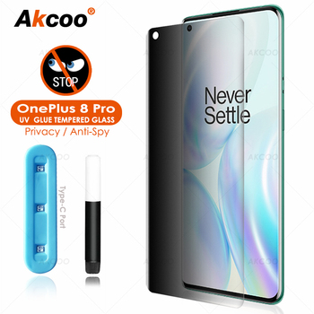Akcoo UV Glass film for OnePlus 8 Pro Privacy Screen Protector Full Screen adhesive for oneplus 8 tempered glass film anti-spy oneplus x premium tempered glass screen protector
