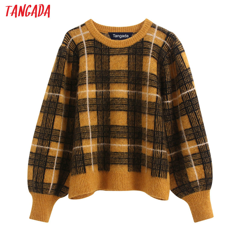 Tangada Korea Chic Women Yellow Plaid Pattern Sweet Sweater Vintage Ladies Oversized Knitted Jumper Tops BE140