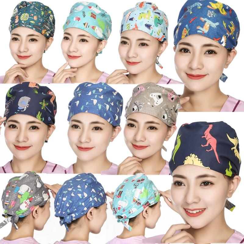 Women Men Nursing Surgical Cap Adjustable Doctor Nurse Printed Hospital Operate Surgery Hats Surgery Scrub Caps Doctor Work Hat