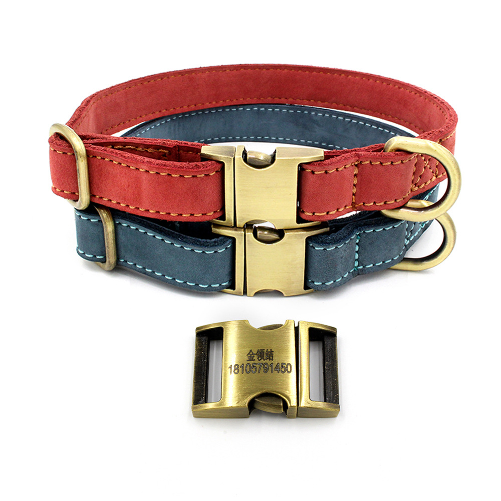 New Style Comfortable Soft Pet Genuine Leather Dog Neck Ring All-Metal Lettering Release Buckle Pet Collar A Generation Of Fat
