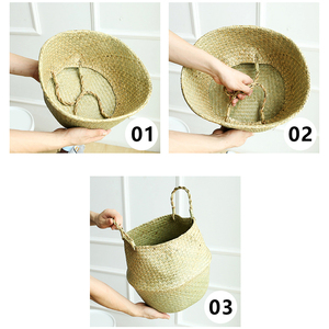 Image 5 - Natural Seagrass Basket Foldable Laundry Basket Bamboo Woven Storage Basket Wicker Rattan Flower Pot Handmade Straw Plant Basket