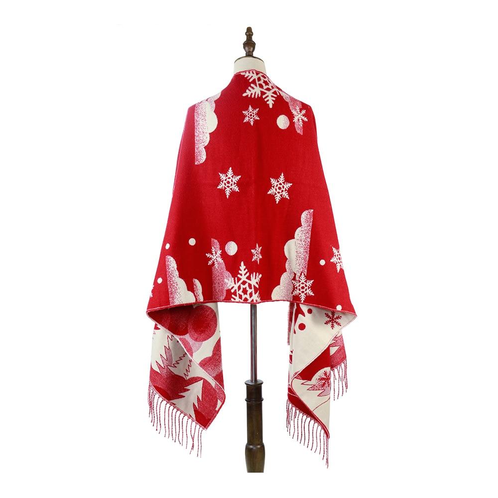 шарф Christmas Gifts Cashmere Acrylic Heavy Shawls Snowflake Deer Winter Blankets 280G