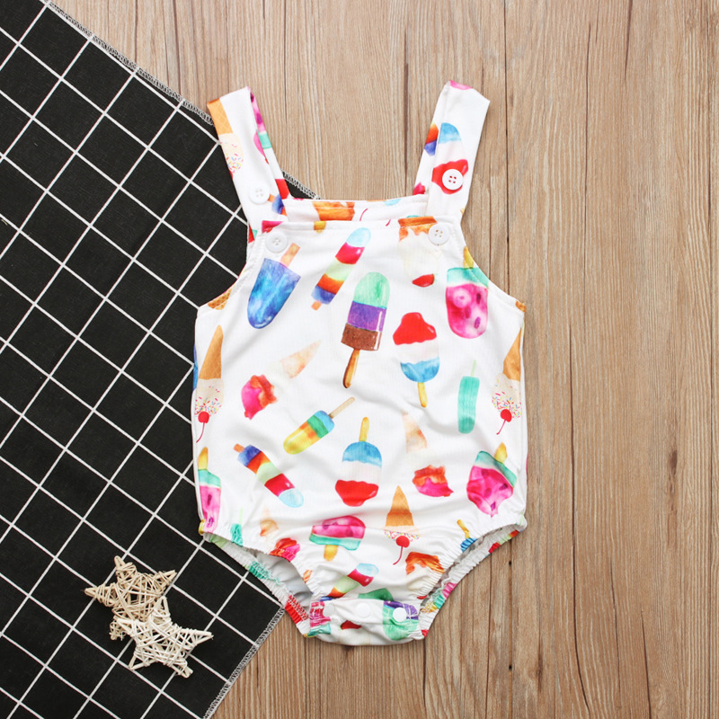 Children Europe And America Summer Style Girls Ice Cream Pattern Swimming Suit Sleeveless Vest Swimsuit Childrenswear INS