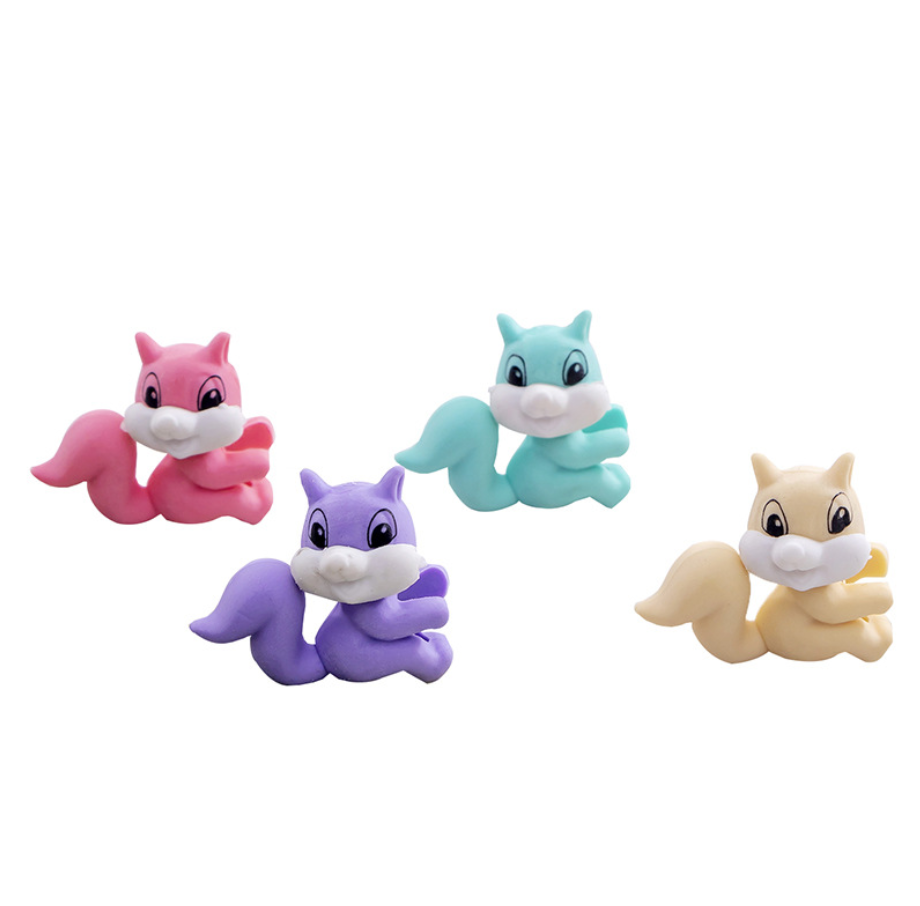 2pcs Squirrel Rubber Pencil Eraser Stationary School Supplies Items Kawaii Office Creative Cartoon Kids Gift Students Prizes