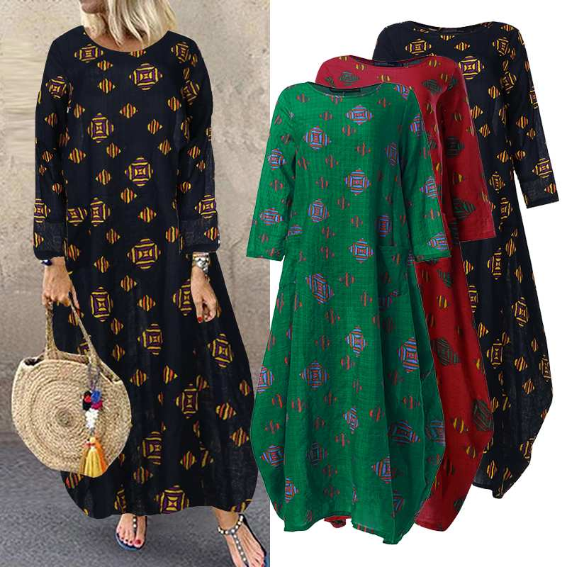 ZANZEA Plus Size Women Long Maxi Dress Bohemian Vestidos Floral Printed Sundress Long Sleeve Pockets Robe Femme Tunic Dresses 7