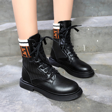 Fashion Ankle Boots Winter Ankle Boots Pu Leather Women Boots Work Shoes Round Toe Lace-Up Women Shoes Black Female luxury pom pom decor ankle boots lace up black leather ankle strap buckle round toe ridding boots flats women motorcycle boots