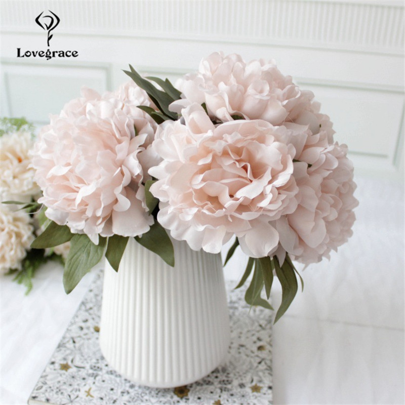 5Pcs/Lot Silk Peonies Flowers Wedding Bouquet Bridal Holding Flowers Artificial Flowers Household Product Home Decor Fake Flores