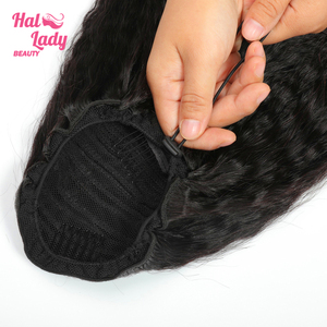 Halo Lady Drawstring Afro Kinky Straight Ponytail Human Hair Non-Remy Brazilian Yaki Hair Extensions Pony Tail African American(China)