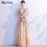 Gold Evening Dresses Long 2020 Elegant O neck A line Floor length Sequin Half Sleeve Formal Gown For Women
