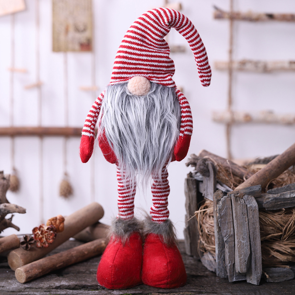 NEW Christmas Long Legged Swedish Santa Gnome Plush Doll Ornament Handmade Elf Toys Home Party Decor Kids Gift Ornements de noel