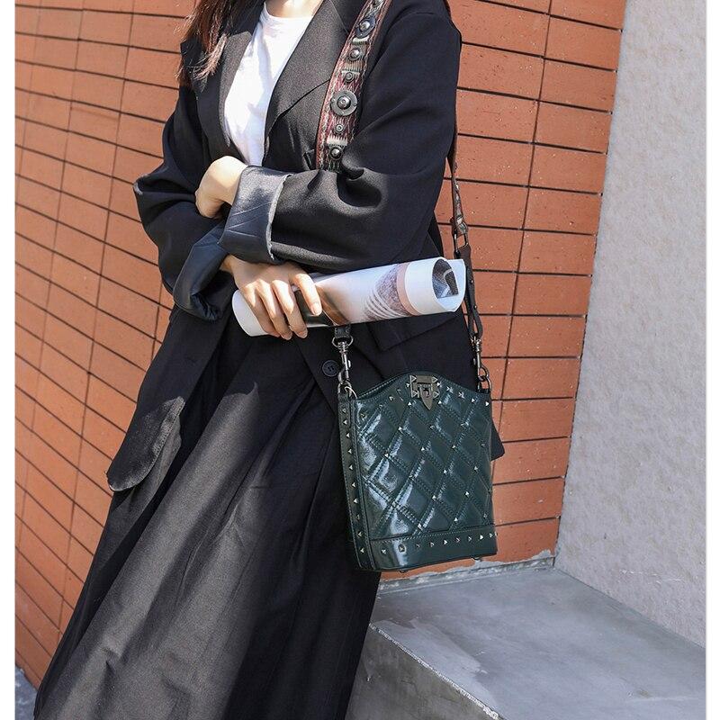 SHUCAI Vrouwen Echt Lederen Emmer Tas Mode Solid Schoudertassen voor Dames Grote Crossbody Tassen 2019 2 Schouderriem - 6