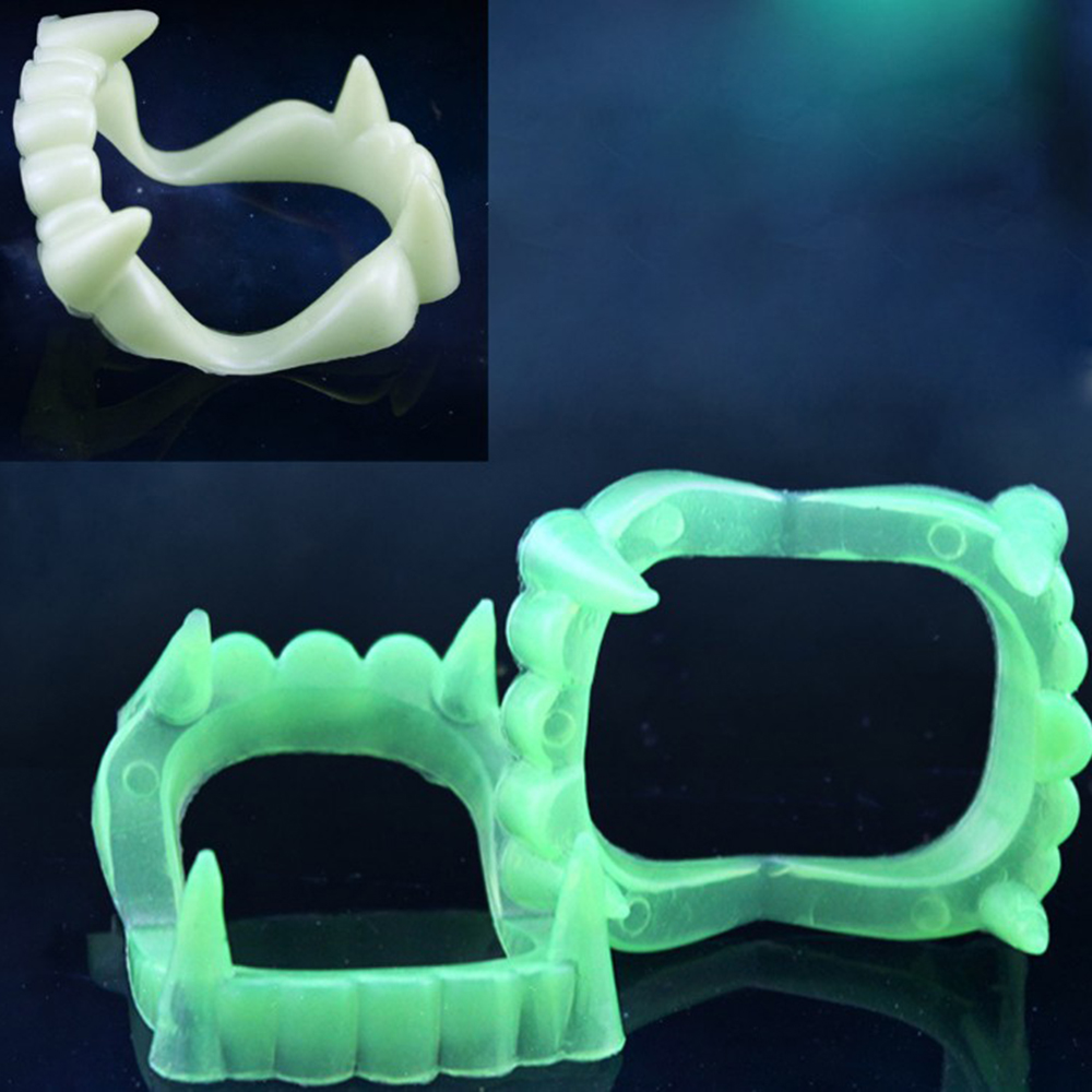 H2f981bc5405c4000bda8358fe2668d79K - 1pc Vampire Luminous Fake Teeth for People Glow In The Dark Gag Terrorist Toy for Halloween Decoration Party Funny Spoof