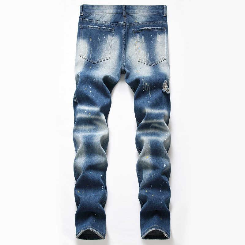 2020 zerrissenen Jeans für Männer Slim Fit Stretch Mode High Street Stil Männlichen Denim Hosen Ausgefranste Zerstört Vintage Mens Punk jeans
