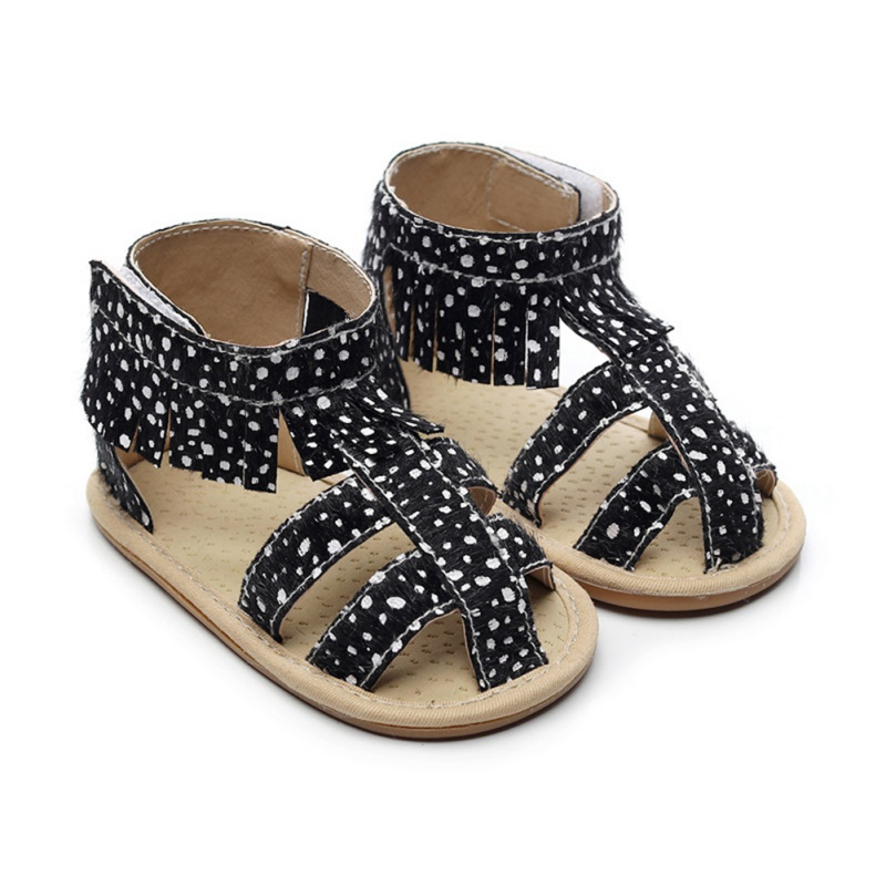 Summer Baby Girls Sandals Shoe Breathable Anti-Slip PU Tassel Design Toddler Soft Soled Walkers Shoes New 4Colors L