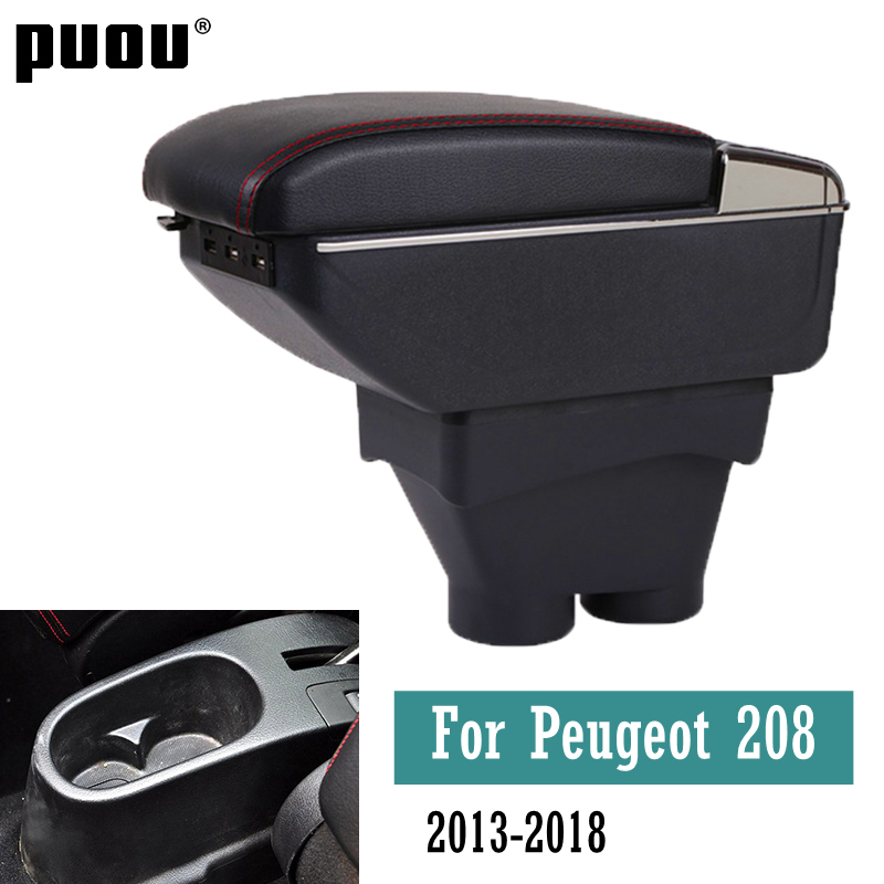 Подлокотник для Peugeot 208 2013-2020, двухслойный подлокотник с USB-зарядным интерфейсом, контейнер для хранения, украшение автомобиля, аксессуары