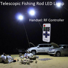 12V Telescopic LED Fishing Rod Outdoor Lantern Camping Lamp Lights White with IR Remote 4M Rod