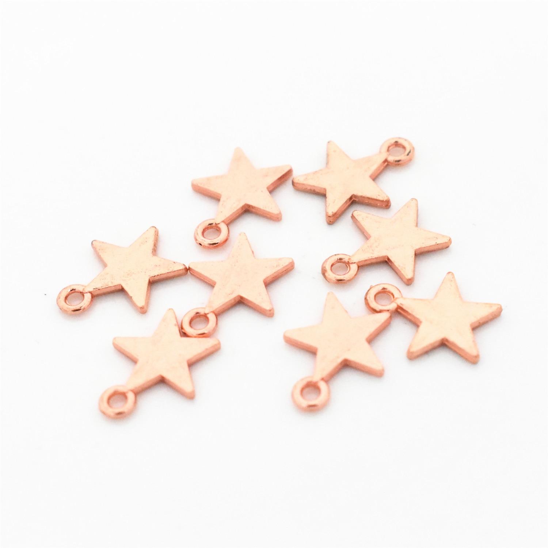 30 шт./лот 22x13 мм розовое золото Цвет позолоченный кулон Подвеска со звездой для изготовления ювелирных изделий DIY ювелирные изделия ручной р...