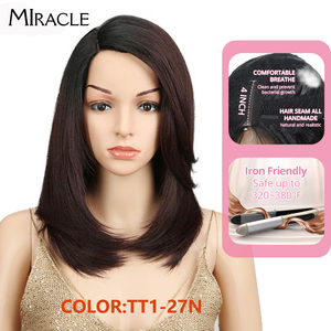 Image 1 - Synthetic Lace Front Wig Long Straight Bob wig 18Inch Right Part Ombre Bob Heat Resistant Synthetic Wigs For Women Miracle wig