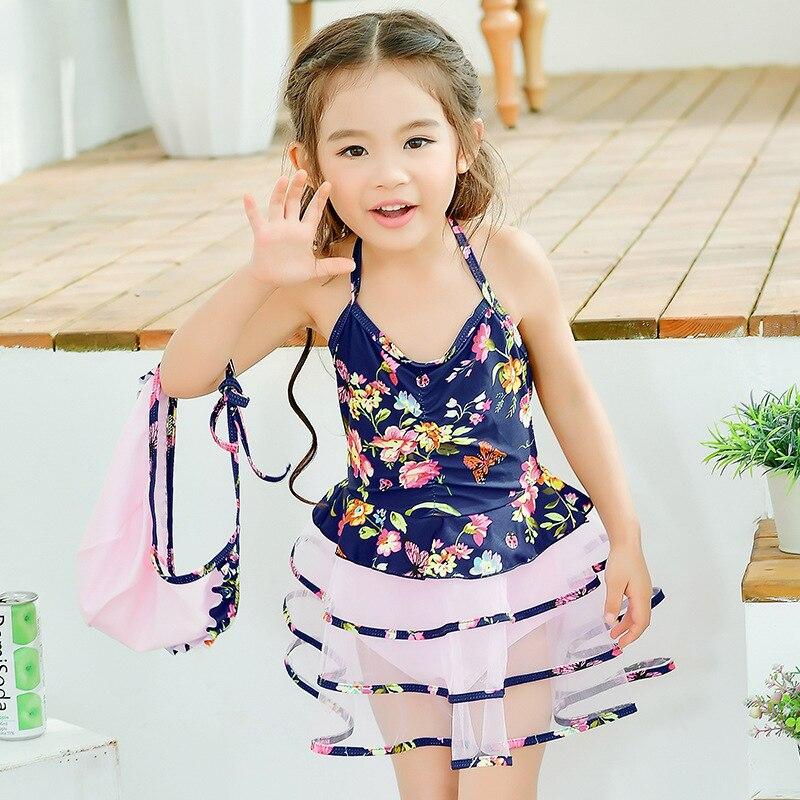 2018 Summer Korean-style New Style Lace Princess Dress One-piece Swimsuit For Children With Cap Swimwear One-piece Bikini Chinlo