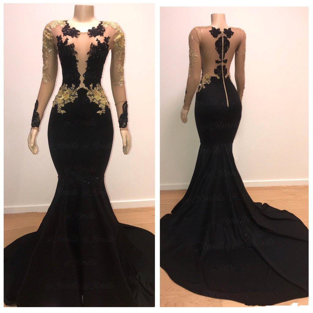 Black   Prom     Dress   2019 Mermaid Long Sleeves Appliques Lace Beaded Formal Long   Prom   Gown Evening   Dresses   Robe De Soiree