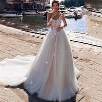 Sevintage 2020 Boho Lace Wedding Dress Illusion Long Sleeve V Neck A Line Beach Bride Dresses Buttons Back Robe De Mariee