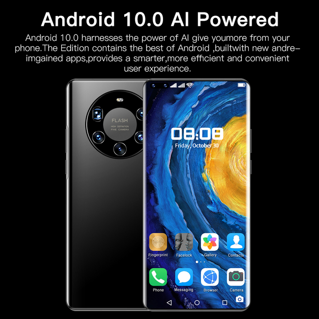 Mate40 Pro+ Android10 Smartphone 7.2 Inch HD Full Screen 512GB FaceFingerprint Unlock Phone Global Version 4G/5G Mobile Phone 6