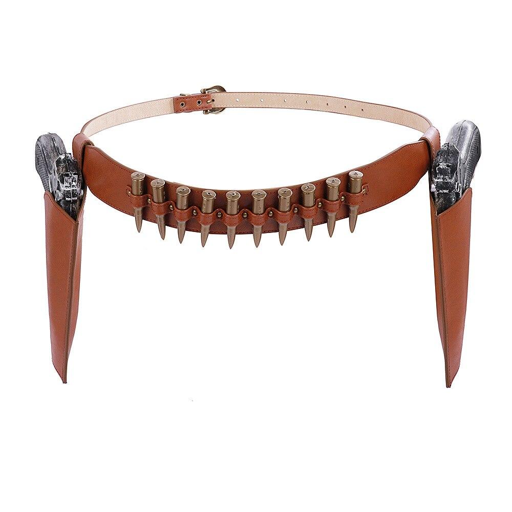 Мужской винтажный костюм для костюмированной вечеринки на Хэллоуин из искусственной кожи в стиле стимпанк, ковбойский костюм пули с игрушечным пистолетом, кобура, реквизит